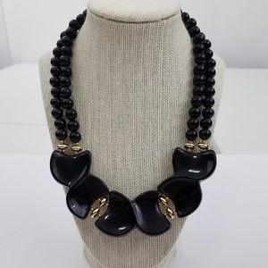 Jewelry - Vintage Black Necklace Statement Gold Tone Plastic